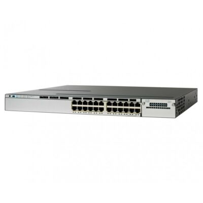 Cisco switch Stackable 24 10/100/1000 Ethernet PoE+ ports, with 715WAC power supply 1 RU, LAN Base feature set  WS-C3850-24P-L