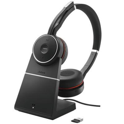 Jabra Evolve 75 UC Stereo - Headset - Fejpánt - Fekete - Binaural - Digitális - Vezetékes és vezeték nélküli 7599-838-199