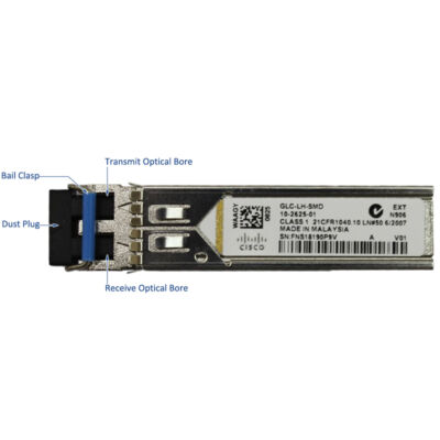 1000BASE-LX/LH SFP transceiver module for MMF and SMF, 1300-nm wavelength, extended operating temperature range and DOM support, dual LC/PC connector Cisco GLC-LH-SMD