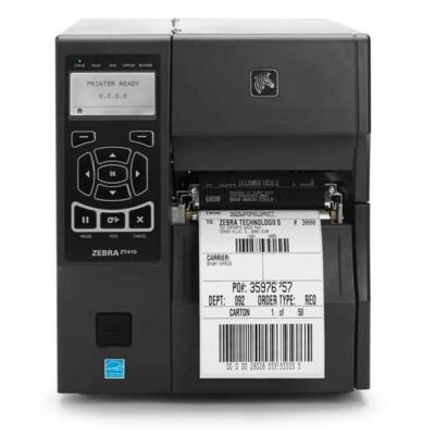ZEBRA ZT400 Series Printer,UK + Euro Power Cords,Thermal Transfer + Direct Thermal print modes,USB 2.0,USB Host,Serial,10/100 Ethernet,Bluetooth 2.1,ZPL + EPL firmware,Real Time Clock,256MB RAM memory,512MB Flash memory,Max Print Width104mm ZT41042-T0E000