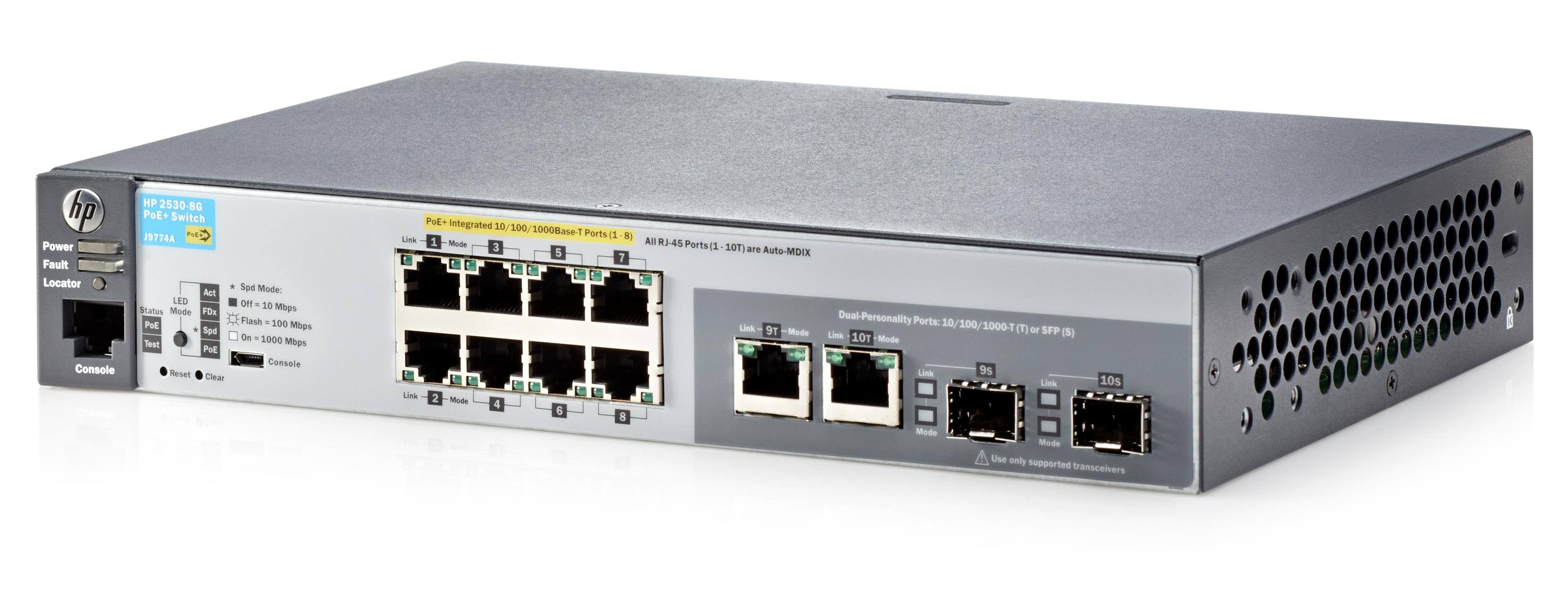 J9774A HP 2530-8G-PoE+ Managed network switch L2 Gigabit Ethernet  (10/100/1000) Power over Ethernet (PoE) 1U Grey - LaserNetworks Rendszerház